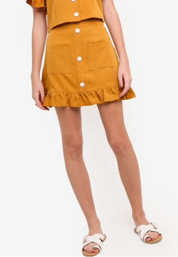 Something Borrowed yellow Button Down Ruffles Skirt 1A204AAD10AB06GS_1