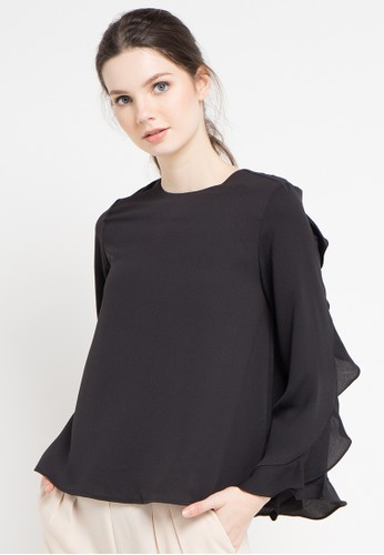 EDITION black Back Layer Wide Blouse A87D8AA88762BBGS_1