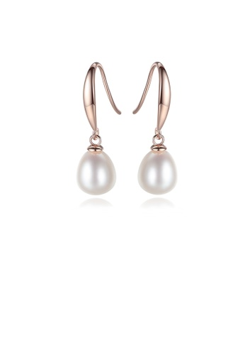 Glamorousky white 925 Sterling Silver Plated Rose Gold Simple Elegant White Freshwater Pearl Earrings B6BC0ACD82F8A3GS_1