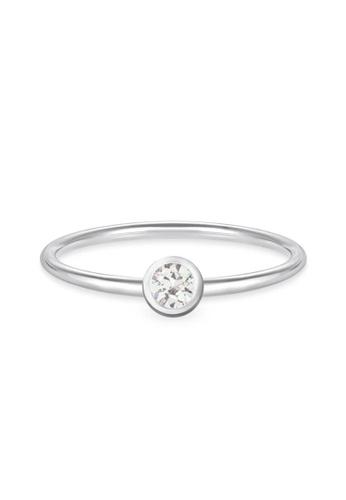 Aquae Jewels white Ring My BirthStone White Sapphire – April, 18K Gold - White Gold E78DBAC55BD0C7GS_1