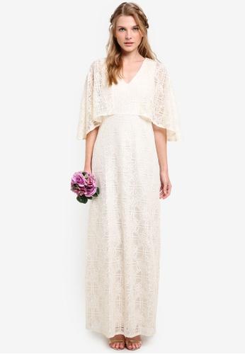 ZALORA white Bridesmaid Cape Maxi Dress 0CCCAAA2BFE21BGS_1