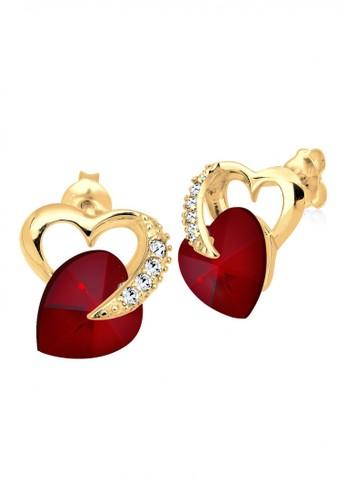 Elli Germany red 925 Sterling Silver Anting Lapis Emas 24K 2 Hearts Swarovski Crystals Red Merah Tua D8C31AC95964C0GS_1