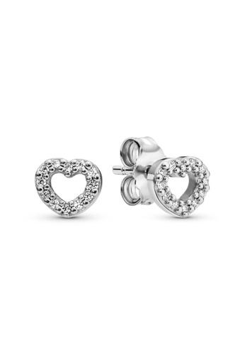 PANDORA silver Pandora Open Heart Stud Earrings 8CD36AC8867A7EGS_1