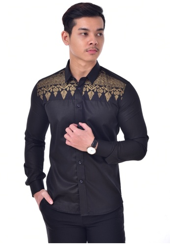 UA BOUTIQUE black Long Sleeve Shirt-UA1012KL (Black/ Gold) UA752AA0SLLNMY_1