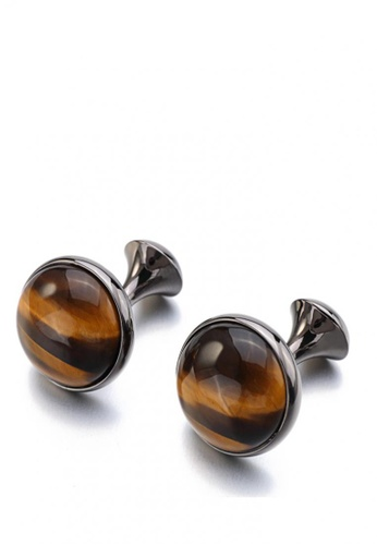 Kings Collection black Luxury Gun Plating Round Tiger-eye Stone Cufflinks BA6A7AC291D200GS_1