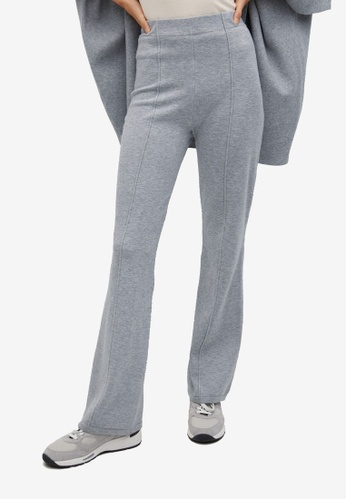 Mango grey Flared Knitted Trousers 8670BAA8CAD909GS_1