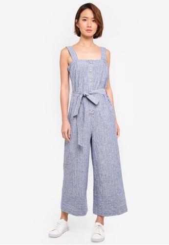 WAREHOUSE blue Button Through Stripe Jumpsuit 9E5B3AA8EF7C5EGS_1