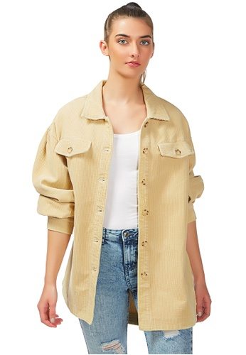London Rag brown Being My Way Over-Sized Corduroy Shirt in Tan 3FA84AAC637B0AGS_1