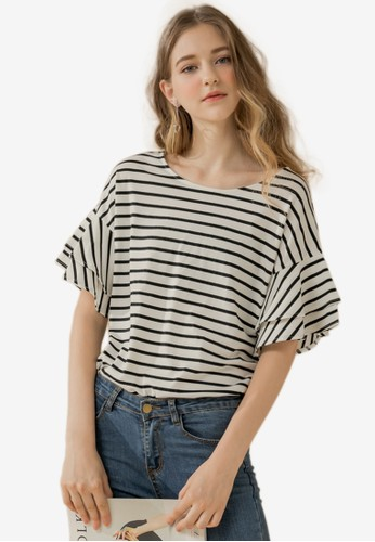 Eyescream white Stripe Frill Sleeve Top AD446AAB37645AGS_1