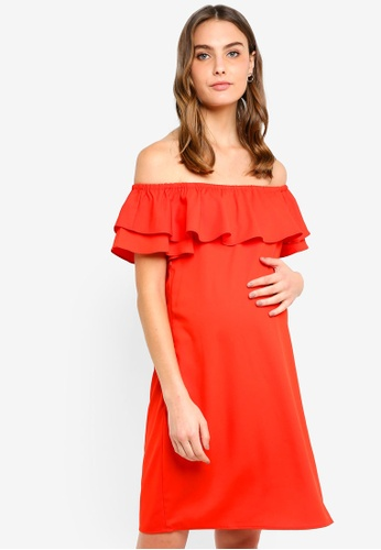 Spring Maternity red Maternity Woven Off Shoulder Clarinda Dress 2CD8CAADAF9E5AGS_1