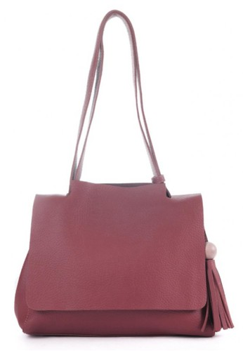 London Berry By HUER Sesha Flap Sling Bag With Wood Tassel