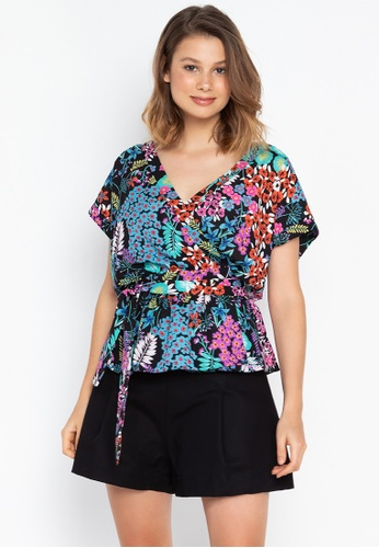 Josie multi Small Floral Wrap Top AE221AA88EBBDCGS_1