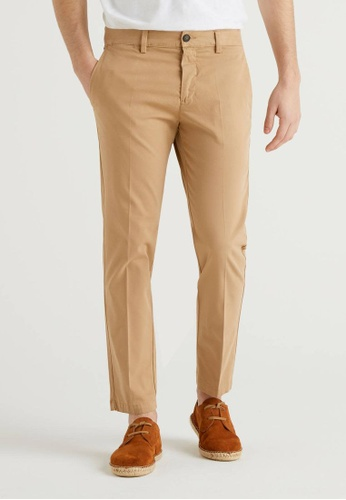 United Colors of Benetton brown Chinos with Elastic Waist 0B07CAA16A8652GS_1