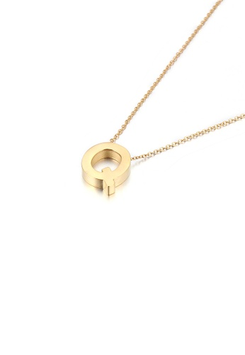 Glamorousky silver Simple Personality Plated Gold English Alphabet Q 316L Stainless Steel Pendant with Necklace 55F6FAC9B64CC8GS_1