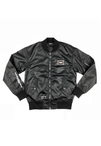 L.I.M.I.T.E black Nylon MA-1 Jacket LI425AA0GZKFSG_1