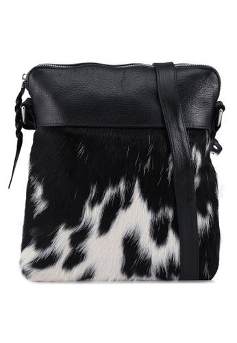 Miajee's black Skin Hide leather Cross Body Messenger Bag - Black 17499ACFEA8E49GS_1