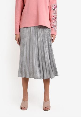 Esprit silver Woven Midi Skirt ES374AA0RWUQMY_1