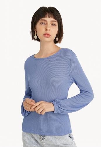 Pomelo blue Sheer Open Back Blouse - Blue 4585DAACB7834DGS_1