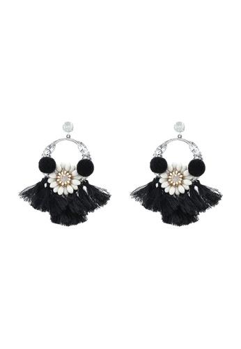 Red's Revenge black Floral Pom Pom Statement Earrings 877DEACF29FD13GS_1