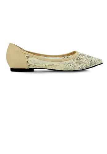 SHINE beige SHINE Houndstooth Printed Point Toe Flats A0367SHDAA1E9FGS_1