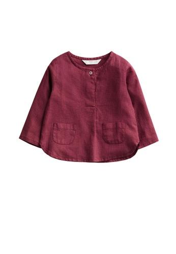 MANGO BABY red Cotton Linen-Blend Shirt EC7E2KAF98549DGS_1