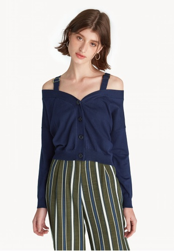 4de9ff5162e11 Buy Pomelo Buckle Strap Off Shoulder Top - Navy Online on ZALORA ...