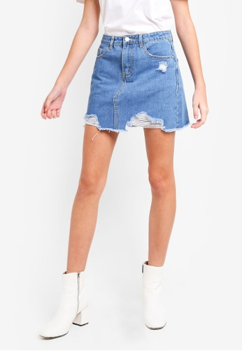 8d0939d8f Buy MISSGUIDED Ripped Denim Mini Skirt Online | ZALORA Malaysia