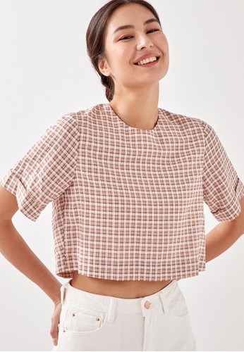 Love, Bonito pink Maisie Gingham Boxy Crop Blouse 263C5AA42D4018GS_1