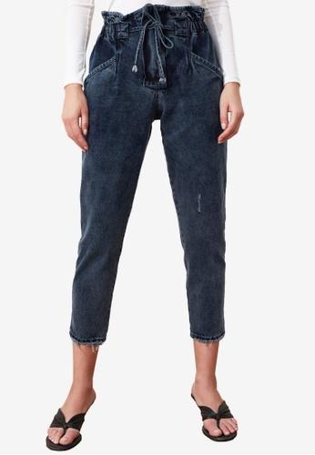 Trendyol black High Waist Paper Bag Jeans 41D60AA09B8BE0GS_1