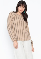 MARKS & SPENCER beige Striped Round Neck Long Sleeve Blouse CB14AAA2FA126EGS_1