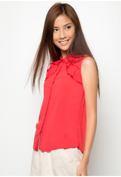 Basic Sleeveless Button Down with Ruffles