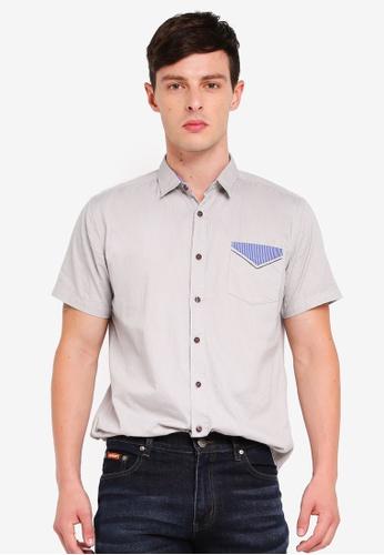 Fidelio 灰色 Contrast Pocket Micro Collar Casual Short Sleeves Shirt 4CB94AABF46629GS_1