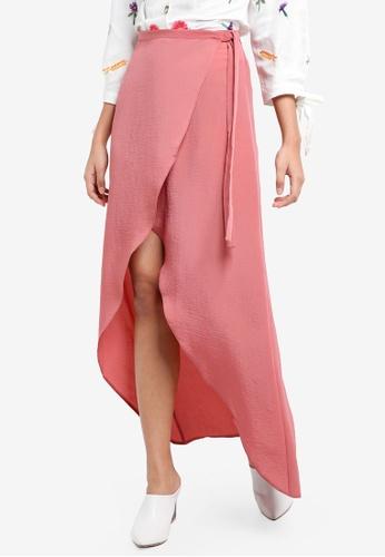 TOPSHOP pink Soft Wrap Maxi Skirt 8A020AABD19844GS_1