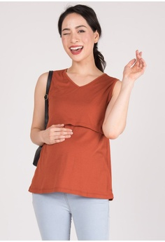 b9304003e7a MOTHERCOT brown and red and orange V Neckline Nursing Top in Rust  2908EAA11B7C10GS_1