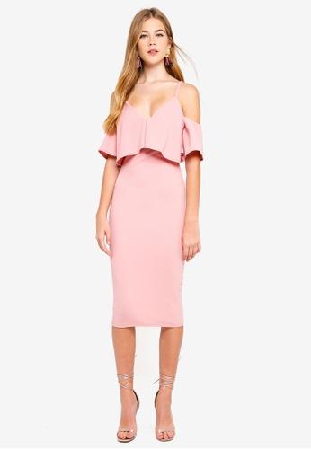 MISSGUIDED 粉紅色 素色挖肩褶飾洋裝 3B787AAC763D46GS_1
