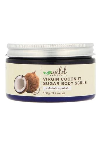 Wild Products Wild Products, 100% Natural Virgin Coconut Sugar Body Scrub - Exfoliate and Moisturise, Treat and Prevent Stretch Marks, Eczema and Acne - 100g D5949BEA5C7DA6GS_1