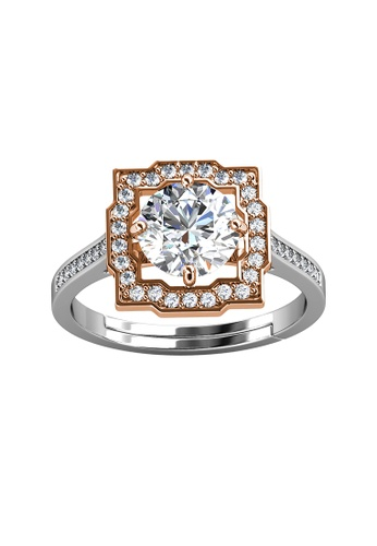 Her Jewellery silver CELÈSTA Moissanite - Carree Ring (925 Silver with 18K White Gold Plating) by Her Jewellery F419AAC4D91A1DGS_1