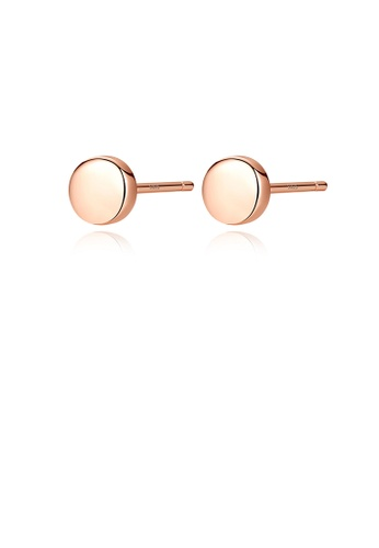Glamorousky silver 925 Sterling Silver Plated Rose Gold Simple Geometric Round Stud Earrings ACB59ACC8B4115GS_1