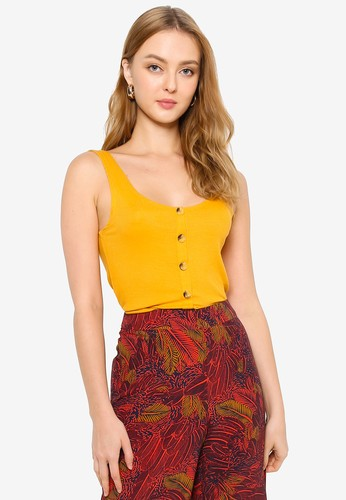 Brave Soul yellow Button Through Tank Top 23505AAADFD03EGS_1