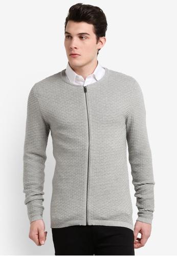 Selected Homme grey Zip Cardigan SE364AA0RB4XMY_1
