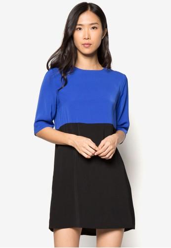 zalora taiwan 時尚購物網鞋子色塊直筒短袖連身裙, 服飾, 正式洋裝