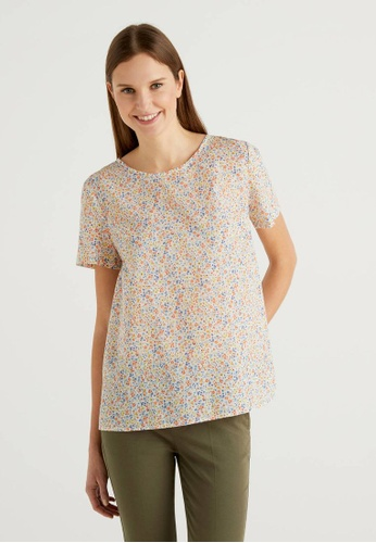 United Colors of Benetton white Allover Printed Blouse 9D926AACF471ABGS_1
