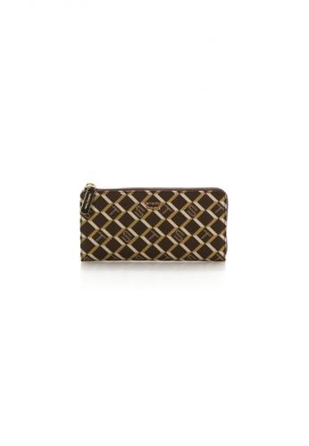 Samantha Thavasa brown and multi and beige Samantha Thavasa Monogram Long Zipper Wallet 36C38ACD825F61GS_1