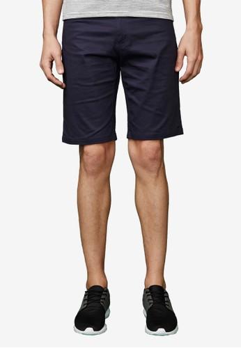 質感型男。基本休閒彈性短褲-02308-深藍,esprit旗艦店 服飾, 短褲