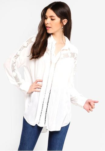 Free People white Katie Bird Button Down Shirt D1C4FAA50CC5F5GS_1