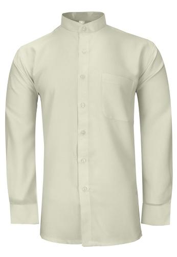 Pacolino beige Pacolino - Mandarin Collar Striped Formal Casual Long Sleeve Men Shirt 701DDAA8C9FFDAGS_1