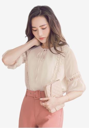 YOCO white Lace Textured Detail Blouse 83413AA2E32A9EGS_1