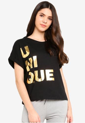 UniqTee black Crop Top with Gold Foil Print 30734AA9B144A7GS_1