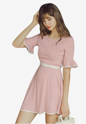 Eyescream pink Contrast Trim Belted Flare Dress 1FCC3AAC936661GS_1