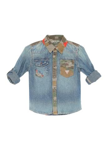Guess blue Denim Long Sleeve Shirt A80BEKA3F59730GS_1